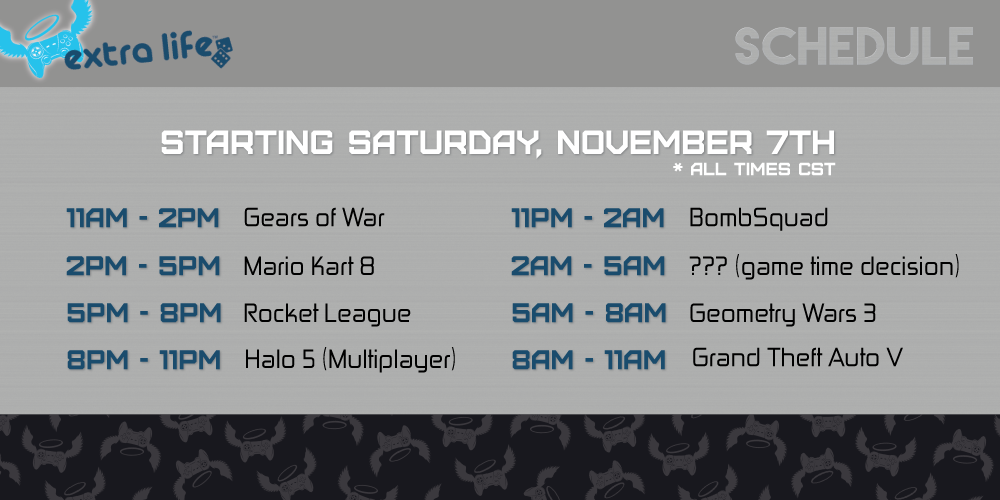 Extra Life - Game Schedule - Fu Tang Clan