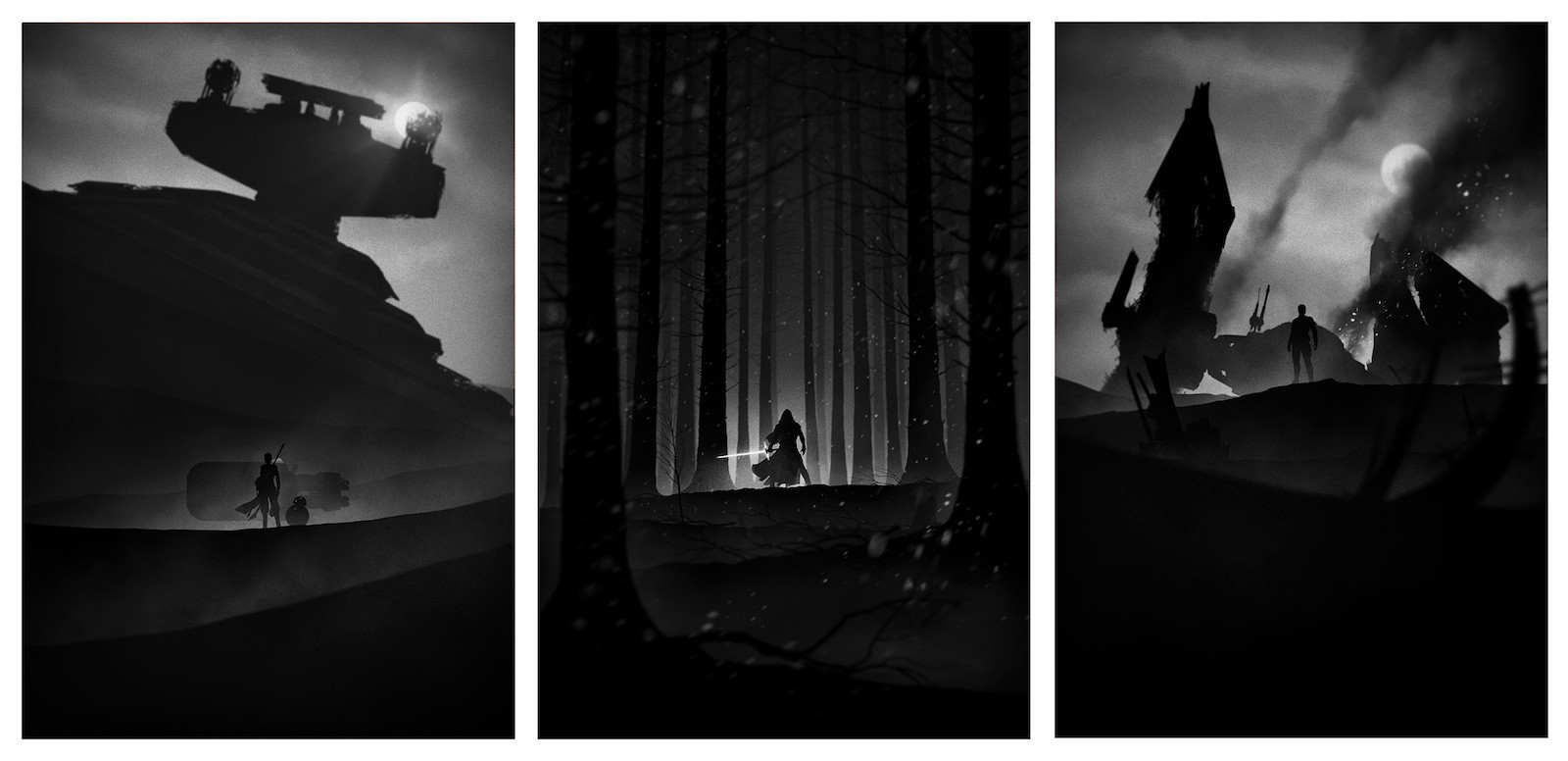 'The Force Awakens' - Noir Style - Rey, Kylo Ren, Rey Noir Set by Marko Manev