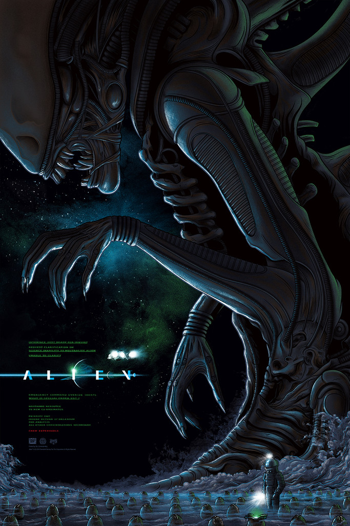 "Alien by Mike Saputo. Edition of 225. 24""x36"" Screen Print."
