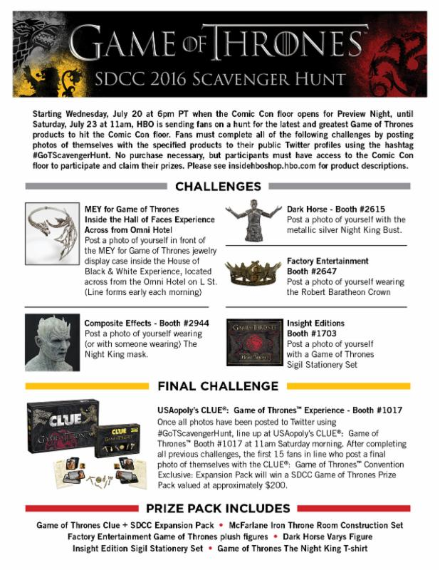 Game of Thrones - Scavenger Hunt - HBO - SDCC - 2016