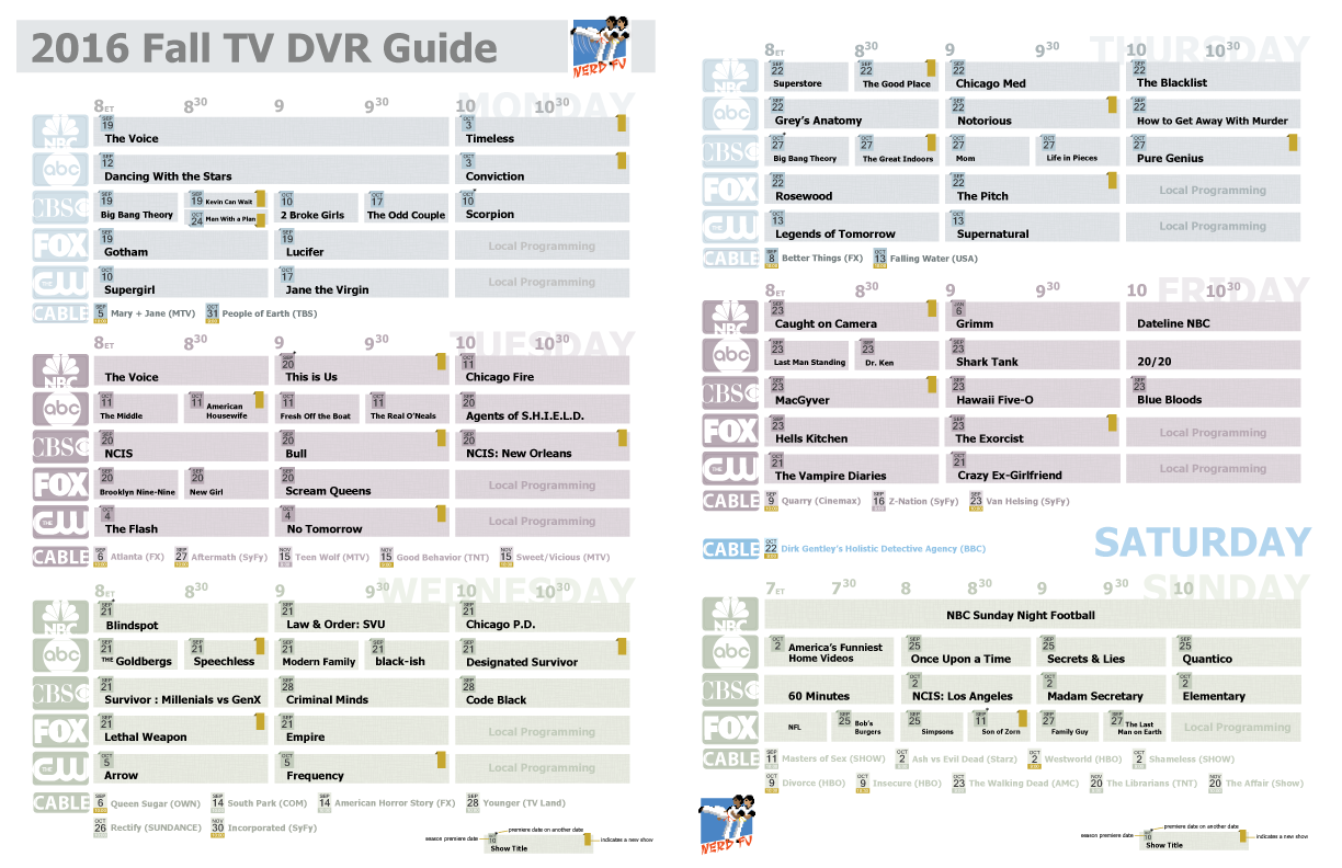 Complete DVR Guide - 2016 Fall TV