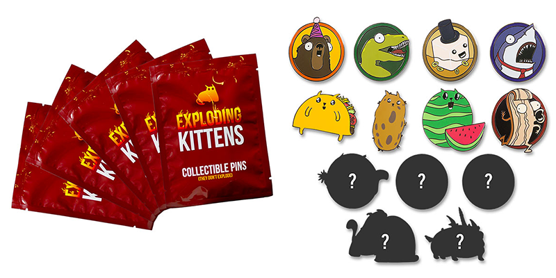 Exploding Kittens Pins - via Think Geek