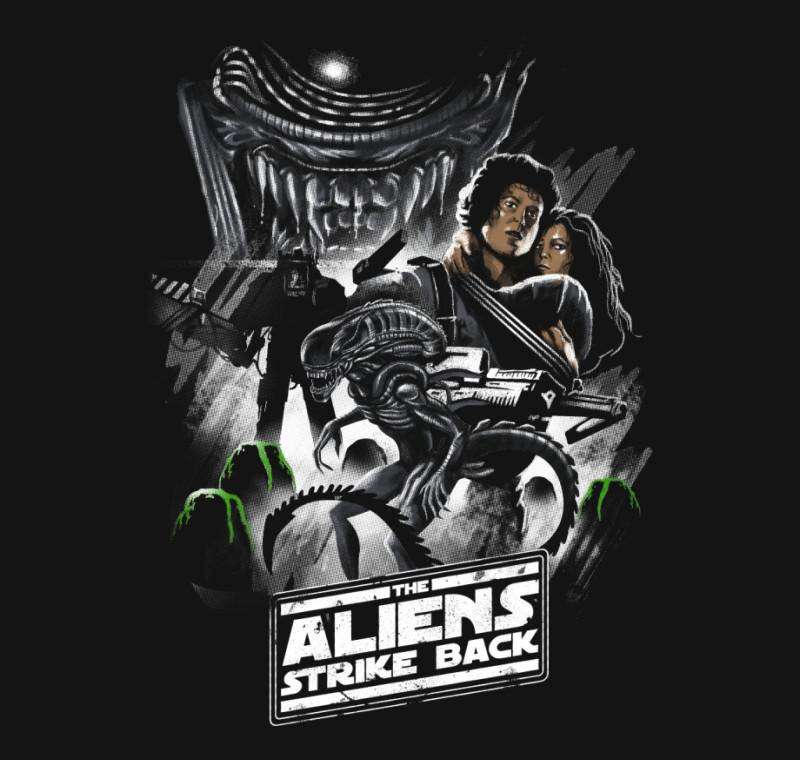 Aliens Strike Back - T-Shirt - by vptrinidad