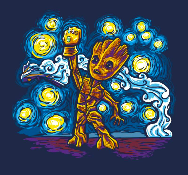 Starry Groot - T-Shirt