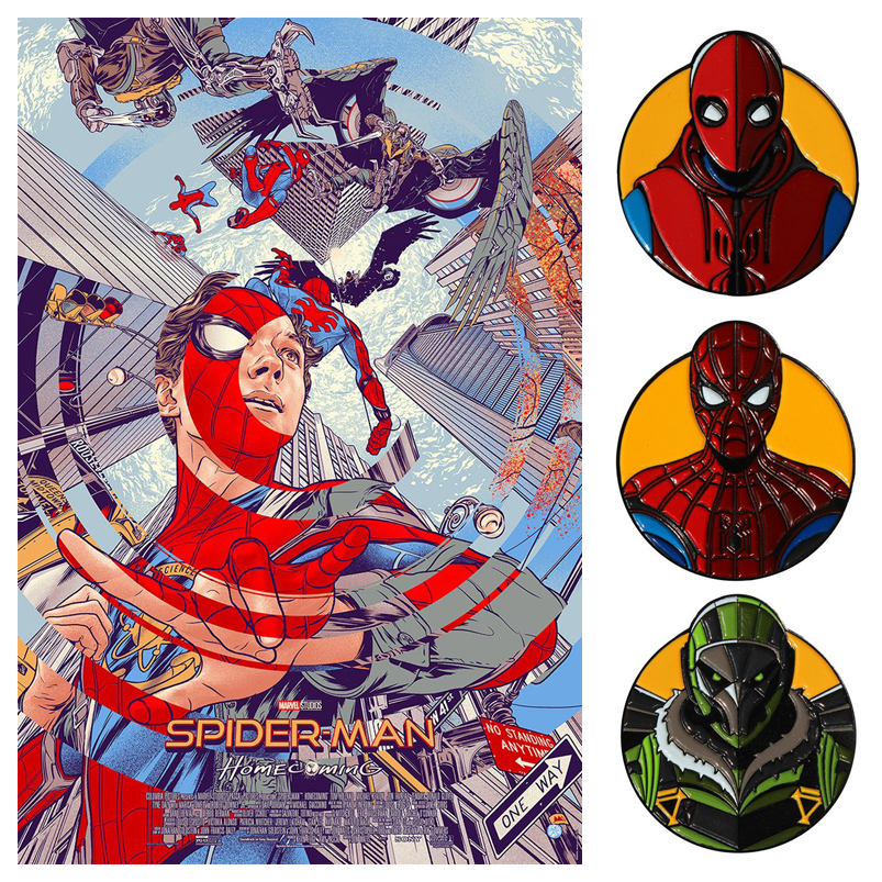 mondo---spiderman---poster-and-pins